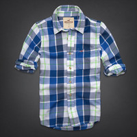 NWT Hollister Men's Classic Shirt Stone Step Beach White Plaid Sizes S M L XL!