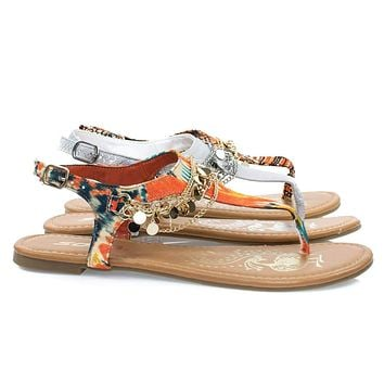 Above Women Metal Chain Flat Thong Sandal w Multi Colored Print & Sling Back Ankle Strap