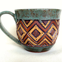 On Sale! Stoneware Teacup - Hand Carved - Coffee, Tea - Squares, Zig Zags, Triangles - Sage Green, Brown, Tan - Textured, Unique