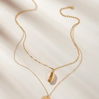 Shell & Disc Pendant Double Layered Necklace 1pc