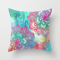Round & Round the Rainbow Throw Pillow by Micklyn