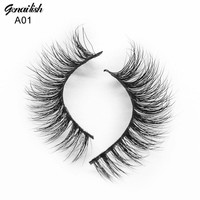 Genailish Mink Lashes 3D Mink Eyelashes High Quality Real Natural False Eyelashes 1 pair Handmade Fake Eye Lashes Extension -A01