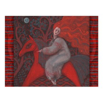 """Red Horse"", ginger woman, folk art, earth shades Postcard"