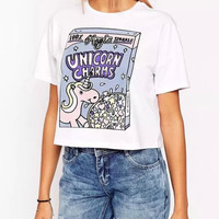 White Letter Paillette Embroidery Cartoon Print T-shirts
