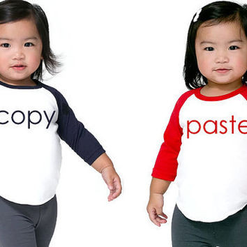 2 Twins Copy Paste Shirts Set of 2 Funny Twin Shirts Twins Baseball T. One birthday shirt boy 1st birthday shirt from ThePaintedTee on