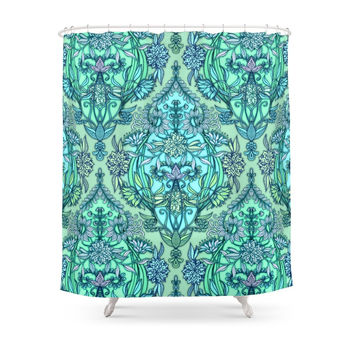Society6 Botanical Moroccan Doodle Pattern In Mint Green, Lilac & Aqua Shower Curtains
