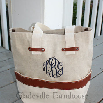 Monogrammed Natural Jute Canvas Open Top Tote