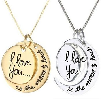 """I Love You to the Moon and Back"" Moon Necklace"