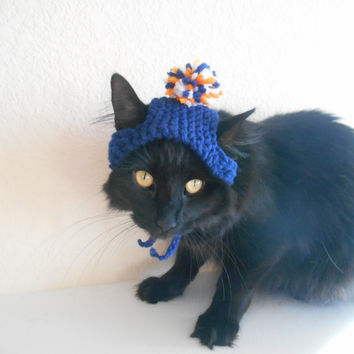 Knit Cat Hat - Cat Hat in Team Colors - Cat Halloween Costume - Cat Hat Photo Prop - Gift for Cat Lover - Cat Pom Pom Hat - Pet Costume