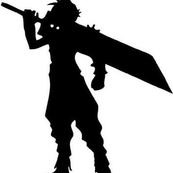 Final Fantasy 7 VII Cloud Silhouette Vinyl Sticker Decal For Wall Apple Macbook Laptop