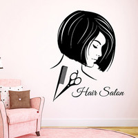 Hair Salon Wall Decals Fashion Girl Hairdressing Beauty Salon Wall Decor Scissors Comb Vinyl Decal Sticker Art Mural Make Up Decals KG910