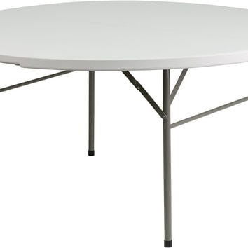 60'' Round Bi-Fold Granite White Plastic Folding Table
