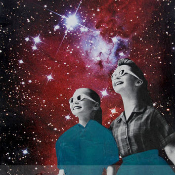 Star Gazers Print, Print of Original Mixed Media Collage, Colorful Stars and Night Sky Art