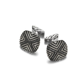 John Hardy bedeg collection triangle line pattern square cufflinks with oxidation