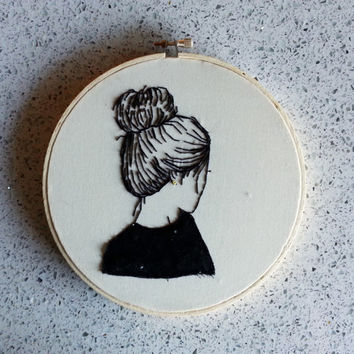 Embroidery Piece / Girl with Gold Earring / Finished Embroidery Design