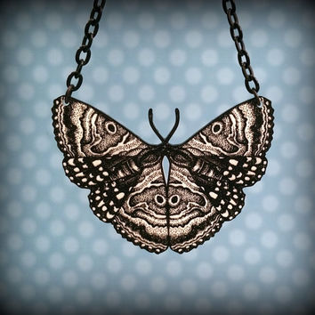 Butterfly Necklace - Moth Necklace - Plastic MothNecklace - Moth Bib Necklace - Black and White Necklace - Vintage Vibe - Wood Cut Image