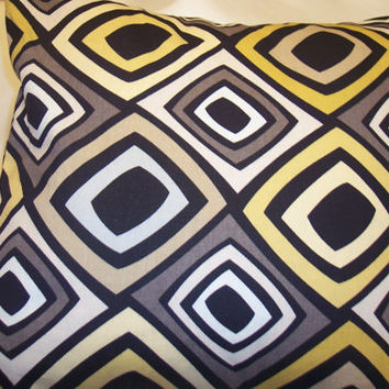 Decorative Pillow Cover, Throw pillow Cover Single 18 x 18 Black, White, Gray, and Mustard Design Geometric Design