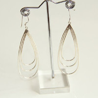Sterling Silver Tiple Oval Wire Dangle Drop Earrings, Womens Sil