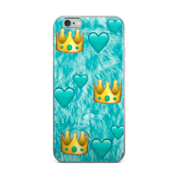 Princess Crown & Turquoise Heart Emoji Collage Cute Girly Girls Turquoise Leopard Skin iPhone 4 4s 5 5s 5C 6 6s 6 Plus 6s Plus 7 & 7 Plus Case
