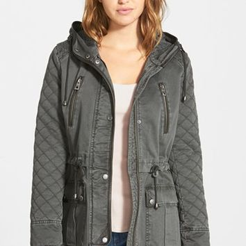 Women's GUESS Quilt Detail Cotton Anorak,