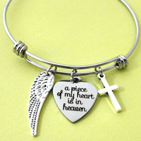 Memorial, Wing, Cross, Bangle, Bracelet, a peace of my heart is in heaven, Heart, Silver, Bangle, Bracelet, Gift, Accessory, Jewelry