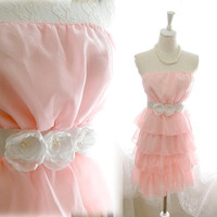 Chantilly Silky Rosettes Rose Adorn Baby Pink Tiered Chiffon Party Dress - French Dress white flower applique