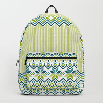 Green Snowflake Backpacks by Negin Khatoun