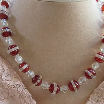 Art Deco Carnelian and Rock Quartz Crystal Necklace