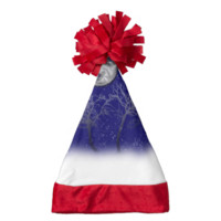 Blue Moon Snow Trees Santa Hat