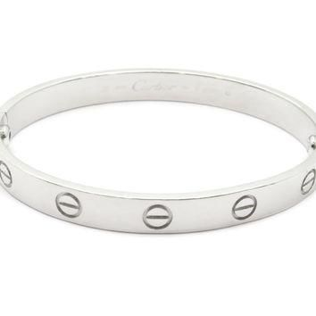 One-nice? Auth Cartier 18K White Gold Love Blaceret Bangle Bracelet