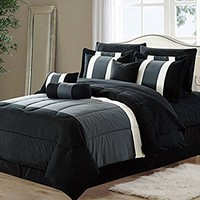 11-Piece Oversized Black & Gray Comforter Set Bedding with Sheet Set (Queen Size)