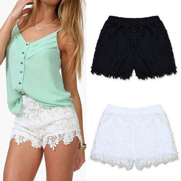 S-XXL Summer Spring Fashion Women Elastic High Waist Lace Shorts  Short Hot Pants = 1946020228