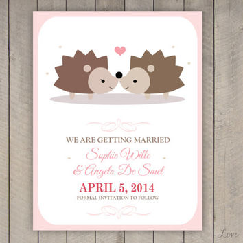 Personalized Save the Date for a wedding - hedgehog