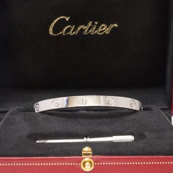 One-nice? CARTIER 18k White Gold Love Bangle Bracelet Size 16 Box Certificate and Scre