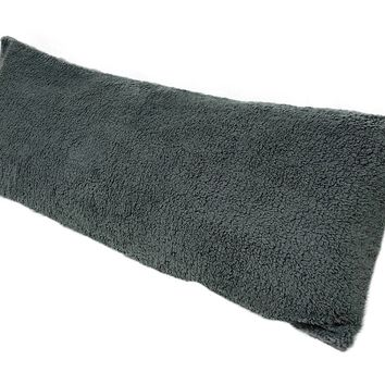 "GREY SHERPA 20X54"" BODY PILLOW"