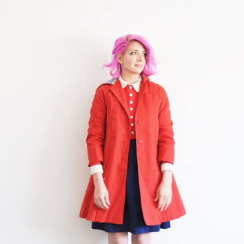 little red riding hood coat . mod red london fog jacket .small