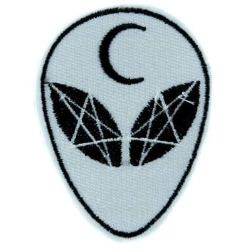 Witchcraft Alien Crescent Moon Patch Iron on Applique Alternative Clothing Astrology