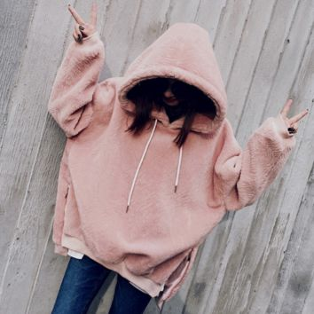 Fashion Long Sleeve Hooded  Thick Medium-long Side Zipper Sweater Pink