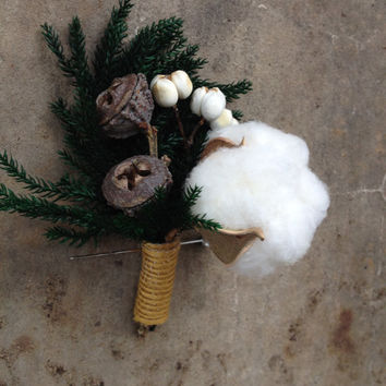 Handmade Wedding Boutonnieres - Winter Wedding, Tallow Berry Boutonnieres, Princess Pine Boutonnieres, Cotton Boll, Jute Twine, Rustic