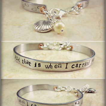 "Thin Handstamped Silver Aluminum Cuff Bracelet Footprints ""And That Is When I Carried You"" Shell Pearl Charms, Christian Gift, Faith Jewelry"