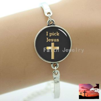 I Pick Jesus Faith Christianity, faith bracelets, with cross pattern, jesus is with me, the faith jewelry, wedding gifts