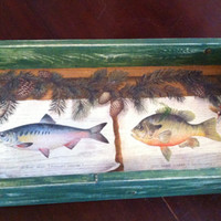 Rustic wood serving tray with handles, distressed handmade, fishermans delight