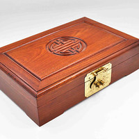 Vintage Asian Stained Cherry Wood Jewelry Box, Asian Symbol, Carved, Red Floral Interior, Hinged, Locking, Trinket Box, Nice! #c307