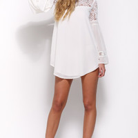White Lace Patchwork Chiffon Trumpet Sleeve Dress