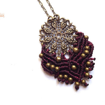Prune Mandala Hippie-chic minimalist handwoven pendant on a antique bronze color chain micro macrame boho gypsy bohemian