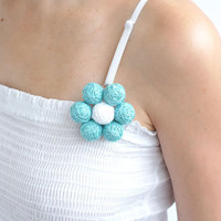 Blue white beaded balls brooch original easy summer thread cotton for women textile natural min seat