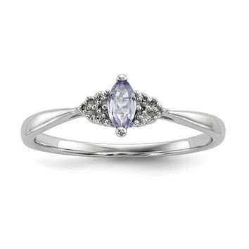 Sterling Silver Marquise Genuine Tanzanite and Diamond Accented Ring
