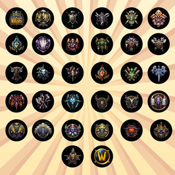 World of Warcraft Set of 32 - 1 Inch Pinback Buttons or Magnets   wow, mmorpg