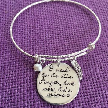 Memorial Jewelry Bracelet  Dad Memorial I used to be his angel now he's mine - Daddys girl - Sympathy gift - Remembrance Bracelet -Sterling