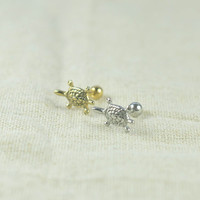 tragus earring,cute turtle earrings,cartilage earring girlfriend earring